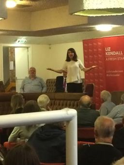 Liz Kendall speaks to the crowd in Newton Aycliffe